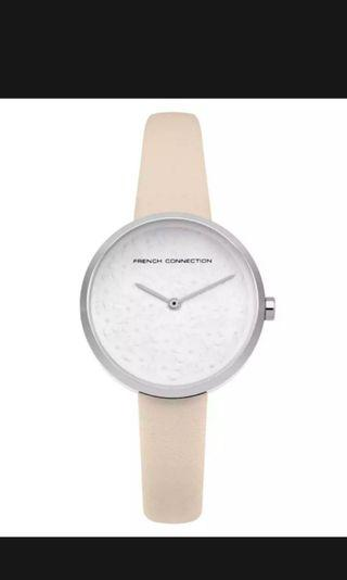 French Connection Ladies Leigh Silver case Cream Leather strap FC1295C