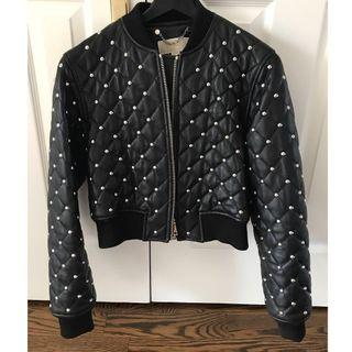 Michael Kors Cropped Leather Bomber Studded Jacket