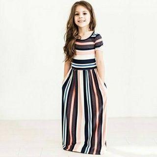 Stripe dress peach color
