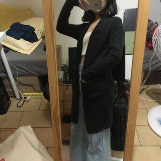 「350元的UNIQLO 深灰針織長版外套」