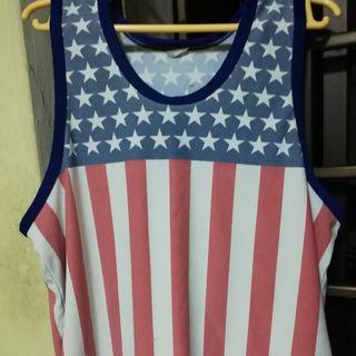 USA flag designed singlet
