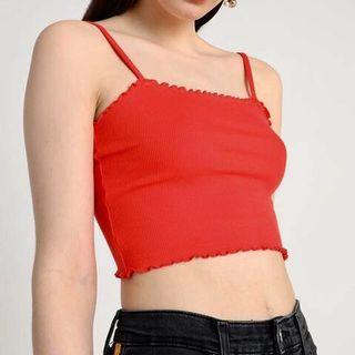 Topshop Riley Lettuce Ribbed Red Crop top
