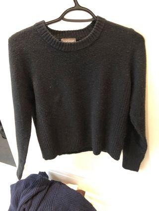 Top shop black knit sweater, size US 6 (S-M)