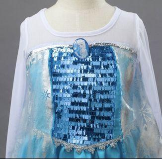 Ready stock Frozen Elsa Long Dress Party princess size 100 to 130