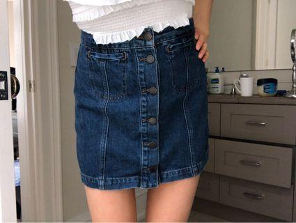 Top shop Moto denim button skirt size 26