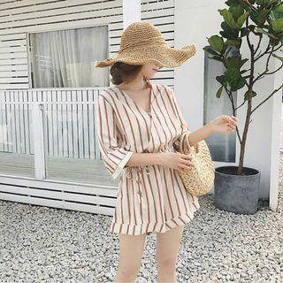 [ BN ] Korean Pastel Stripe Romper