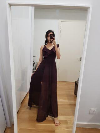 (Sale 4 for RM260) Purple toga ruffle long dinner dress