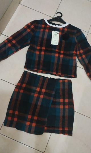 Korean Tartan Wools Set (Top + Skirt)