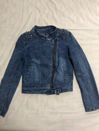Studded Washed Denim Jacket