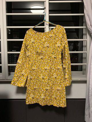 Zara TRF structured A-line dress in yellow florals