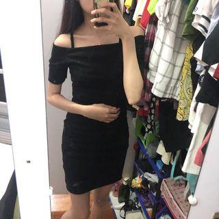 Off Shoulder Bodycon Black Dress