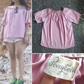 #BAPAU PONYTALE pink sabrina blouse