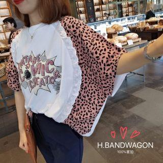【H.BANDWAGON】韓國個性仿舊圖案豹紋荷葉邊蕾絲拼接寬鬆短袖t恤