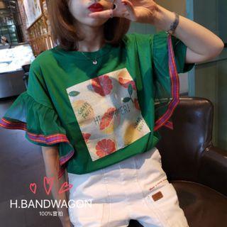 【H.BANDWAGON】韓國可愛亮片水果貼布格紋網紗立體大荷葉袖拼接寬鬆短袖t恤