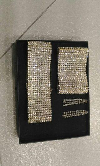 🚚 Set zircon short necklace , Braccelet n earring