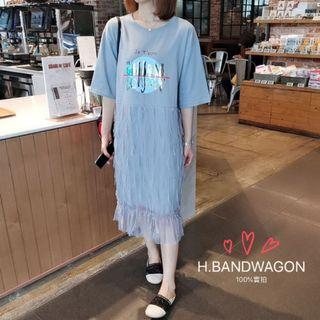 【H.BANDWAGON】韓國個性鐳射漸變貓咪貼布字母印花短袖流蘇透視網紗拼接魚尾連衣裙洋裝
