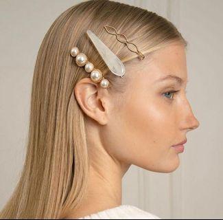 Acrylic pearl hair clips ready stock ⚡️