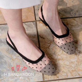 【H.BANDWAGON】韓國波點點透視網面拼接後拉帶方頭低跟淺口涼鞋