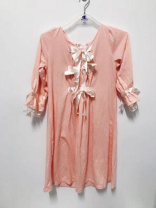 🚚 粉色蝴蝶結棉睡衣裙-全新