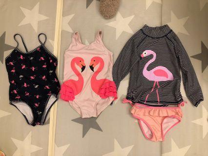 🚚 Girls flamingo swim wear