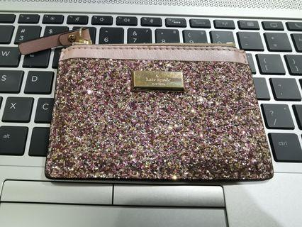 Kate Spade Card holder/Coin purse mini wallet in glitter