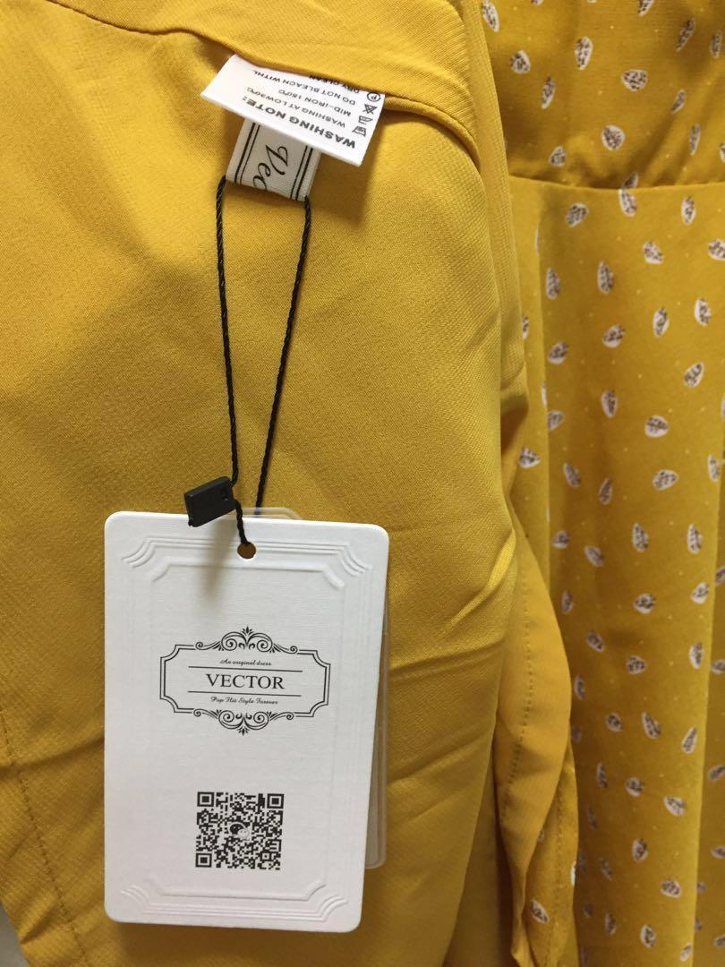 全新黃色碎花連身裙