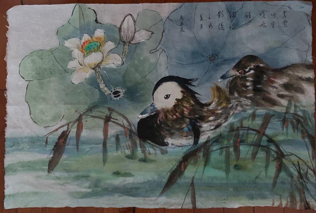 中國畫 鴛鴦戲水