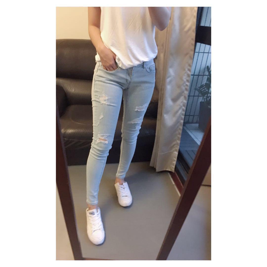 🐝正韓 韓組 淺色刷破貼腿牛仔褲