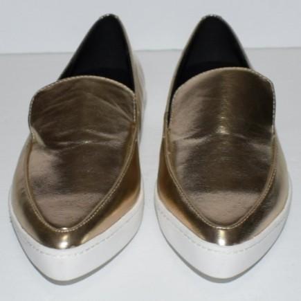 Aldo Trezzo Pointy Toe Sneakers Gold Patent Size 6.5 & 6