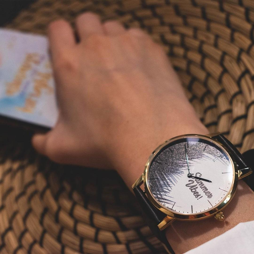 ARIES GOLD CUSTOMISED GOLD STAINLESS STEEL WATCH - SUMMER VIBES PALM LEAVES UNISEX LEATHER STRAP WATCH