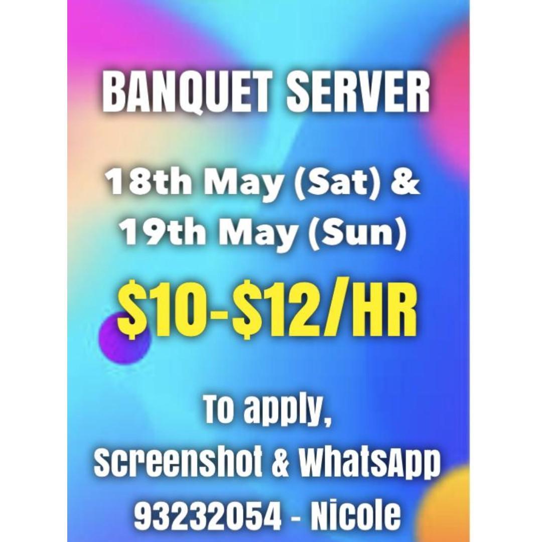 Banquet Server  $10- $12/hr (Screenshot and WA 93232054)