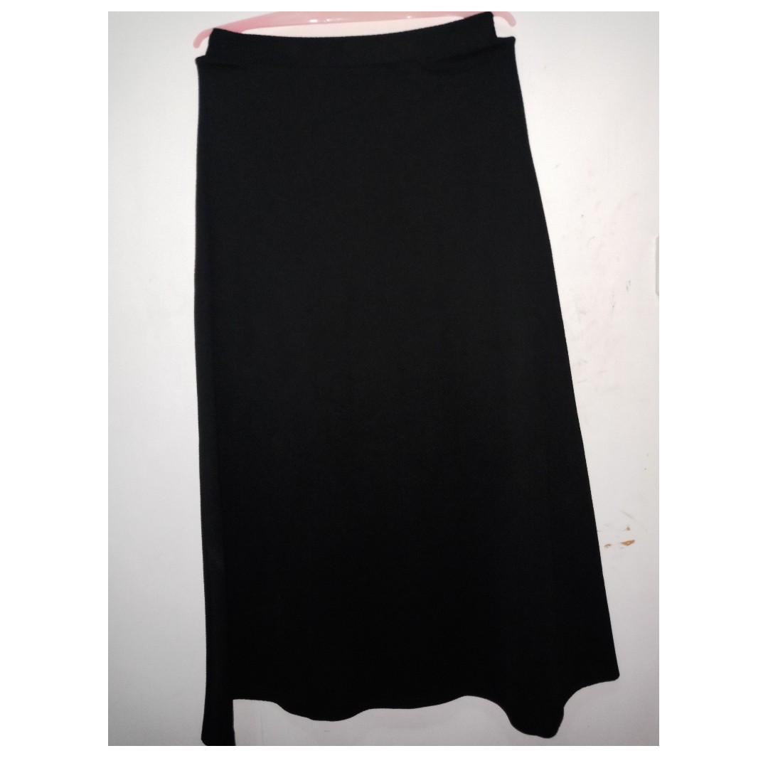#BAPAU rok hitam panjang bahan kaos tebal