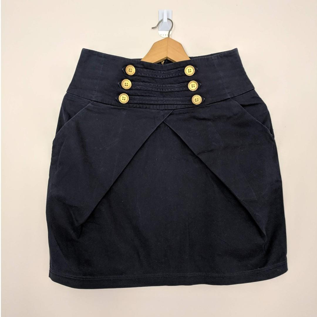 Bardot Navy Pencil Skirt with Deep Pockets and Brass Button Details