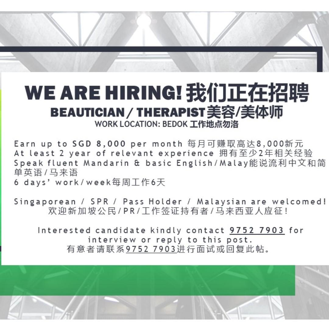 Beautician / Therapist Wanted in Bedok