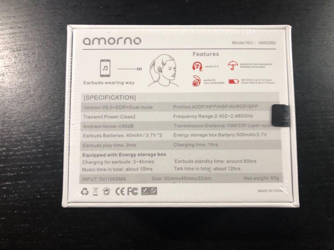 Brand New Bluetooth Wireless Earbuds Charging Case AMORNO