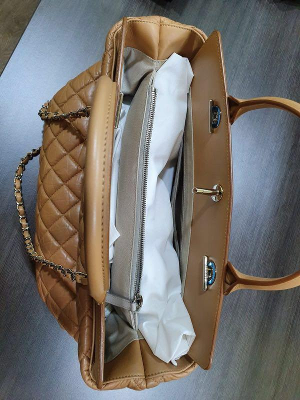 Chanel Matelasse CC PHW Shoulder Bag Calfskin Leather Brown