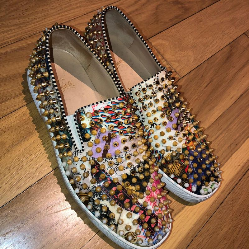 watch d3b34 40b8b Christian Louboutin Graphic Multicolour Full Gold Spiked ...