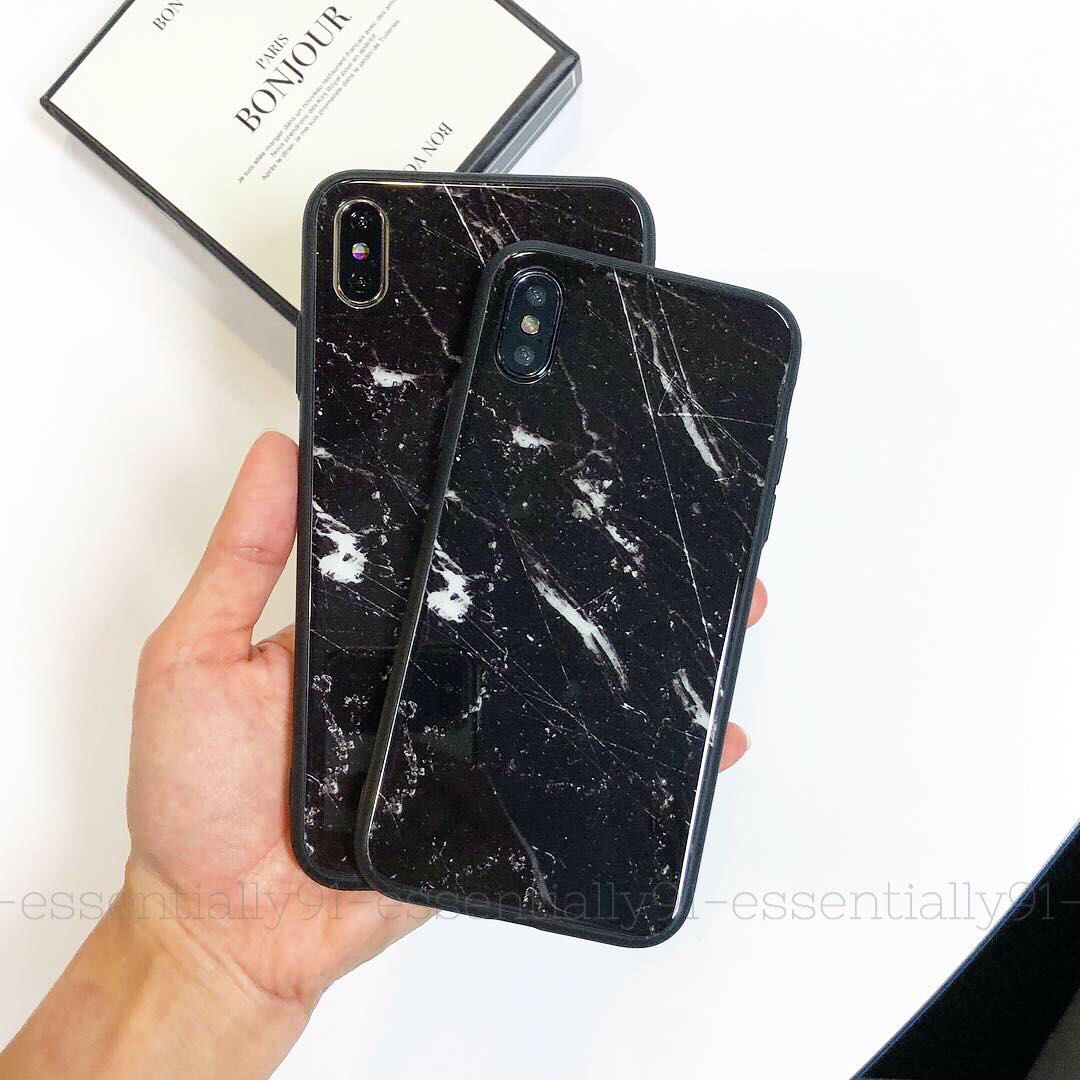 Classic Black Marble Tempered Glass Phone Case