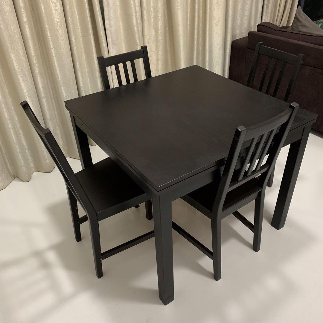 Picture of: Dining Set Ikea Bjursta Table And 4 Chairs Furniture Tables Chairs On Carousell