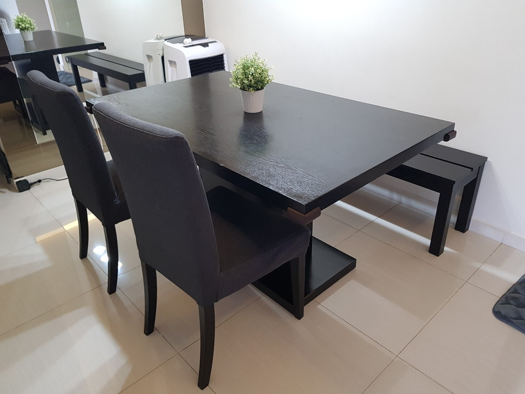 Dining Table Set With 2 Chair 1 Long Bench