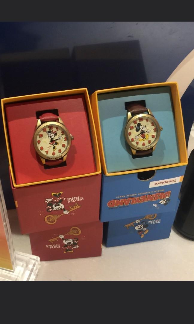 Disneyland mickey minnie couple vintage watch