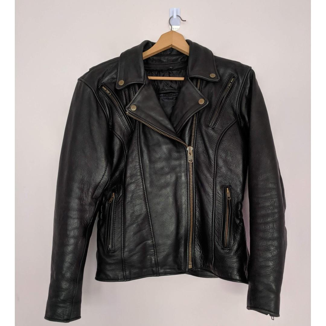 Fox Leather Creek Womens Fitted Black Leather Motorcycle Jacket