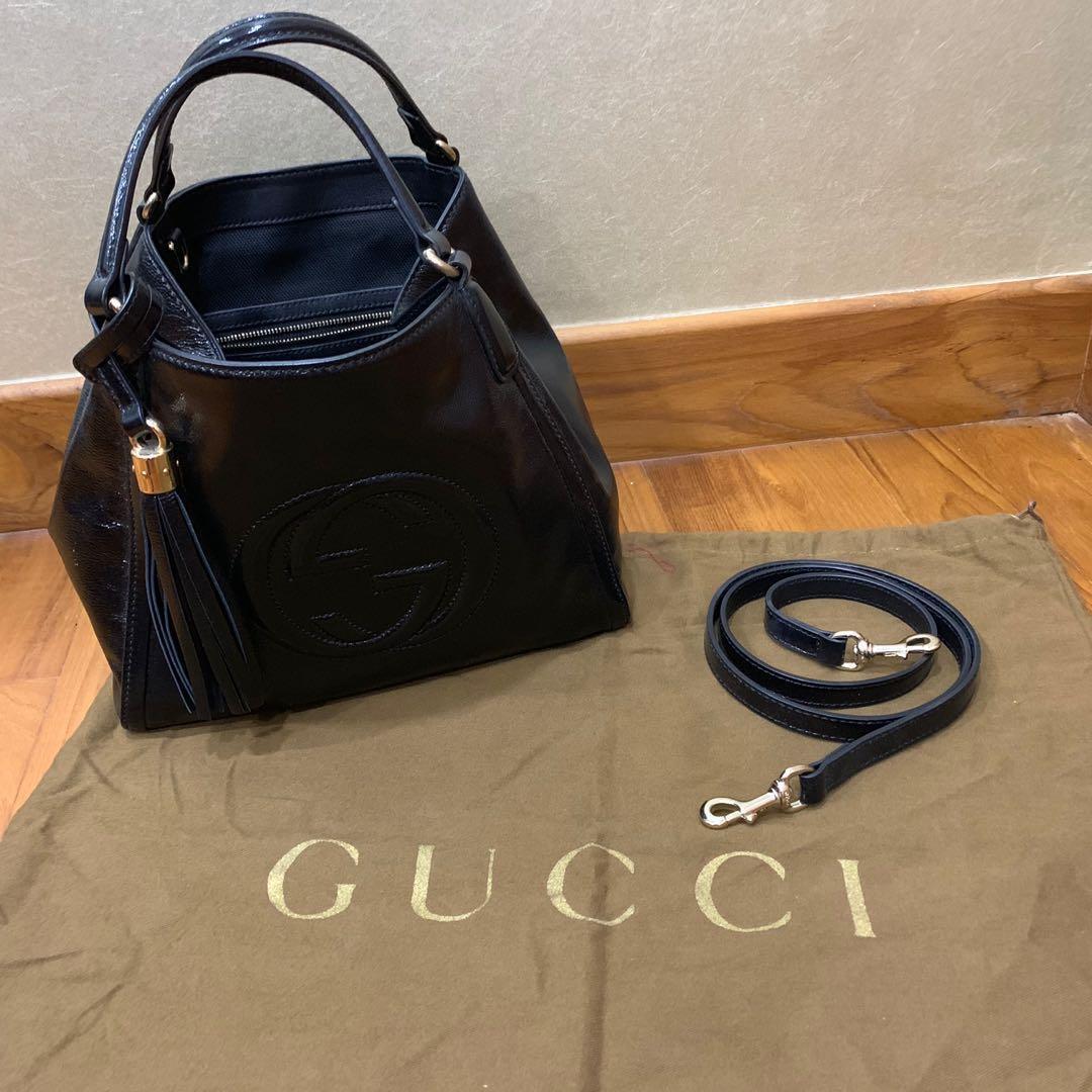 a41222cb6 Gucci Soho black patent tote, Women's Fashion, Bags & Wallets ...