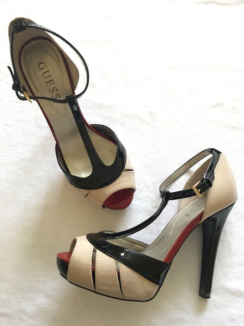 Guess Nude/Black t-strap heels