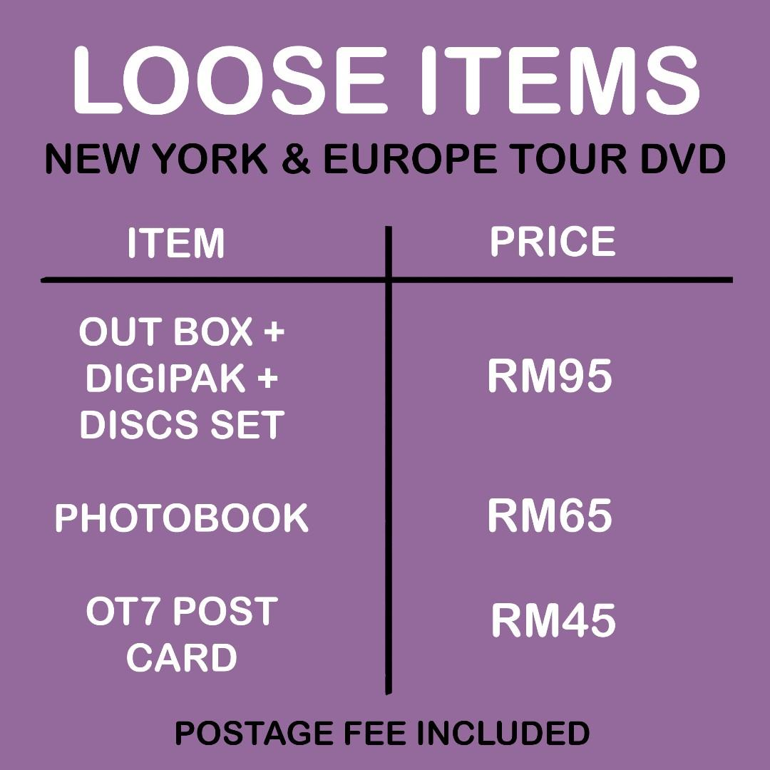 [LOOSE ITEMS] BTS LOVE YOURSELF IN NEW YORK AND EUROPE TOUR DVD