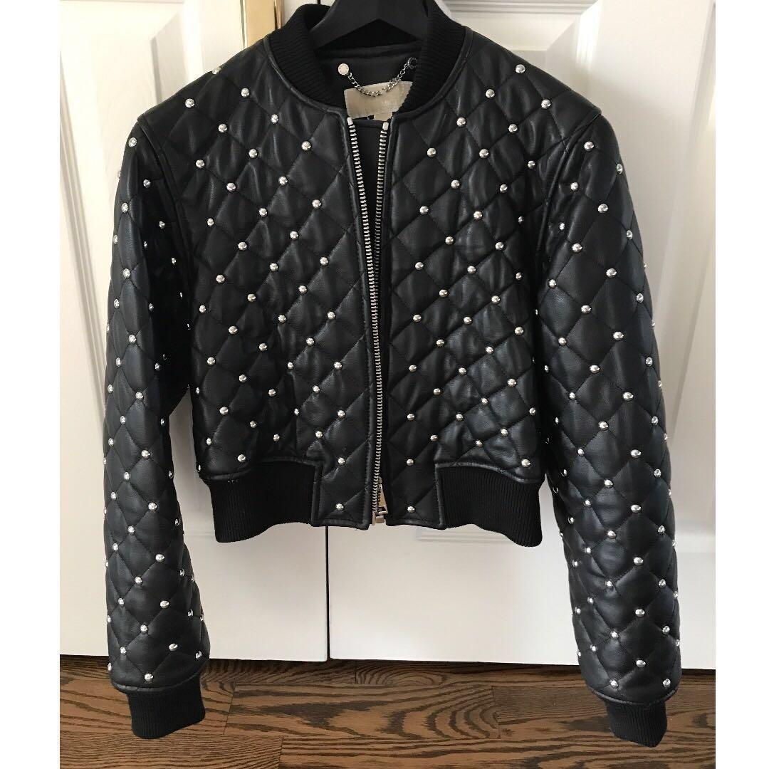 Michael Kors Cropped Leather Bomber Studded Jacket