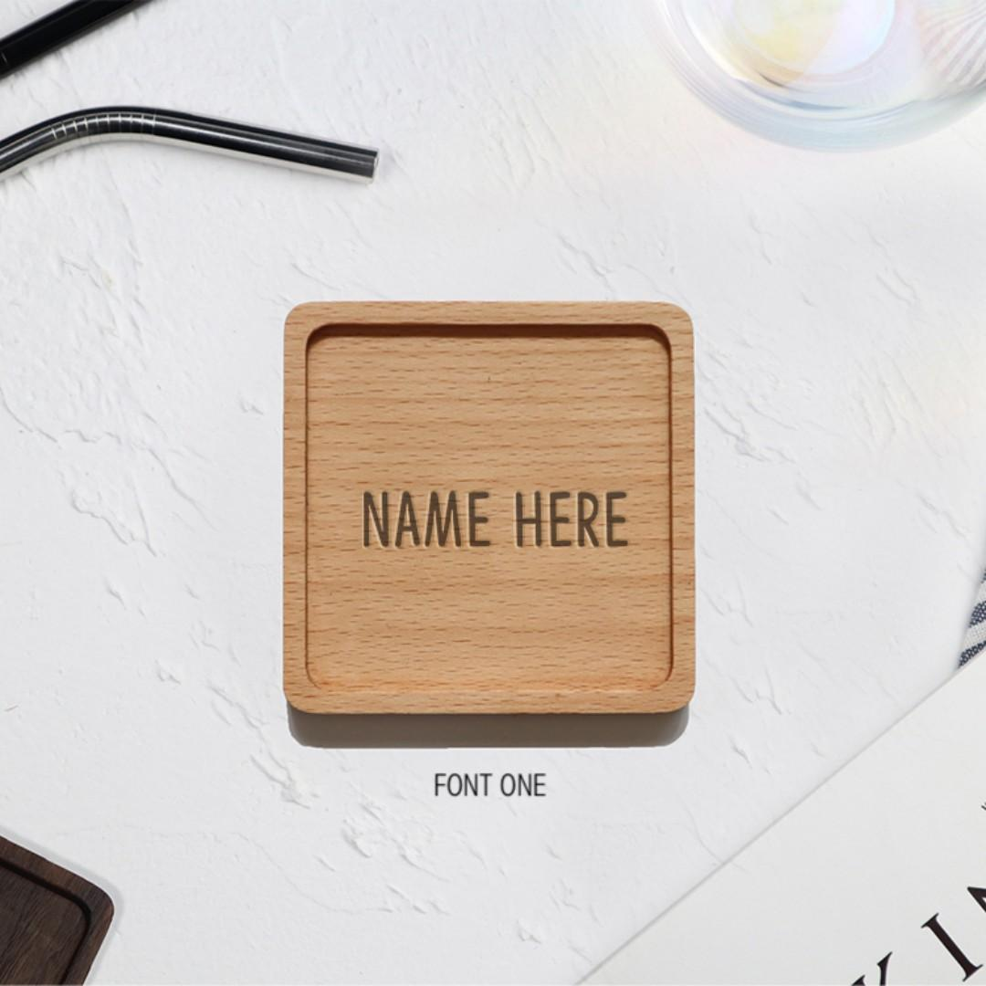 NAME ONLY Rimmed Square Coaster - Beech