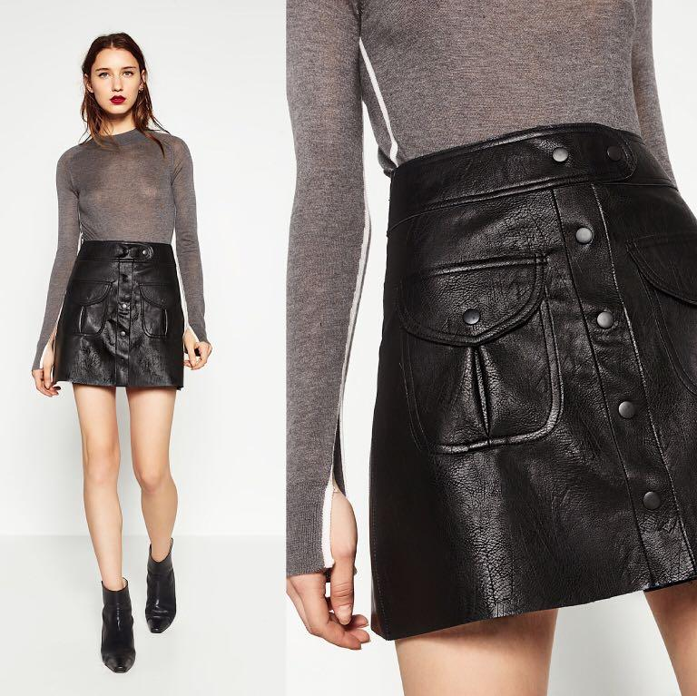 *NWT* Zara Faux Leather Mini Leather in Black Women Size S