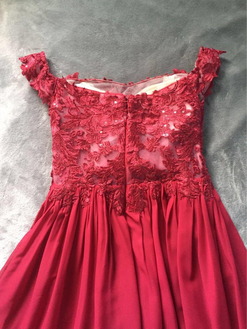 Off Shoulder Red Burgundy Lace Prom Dress with slit