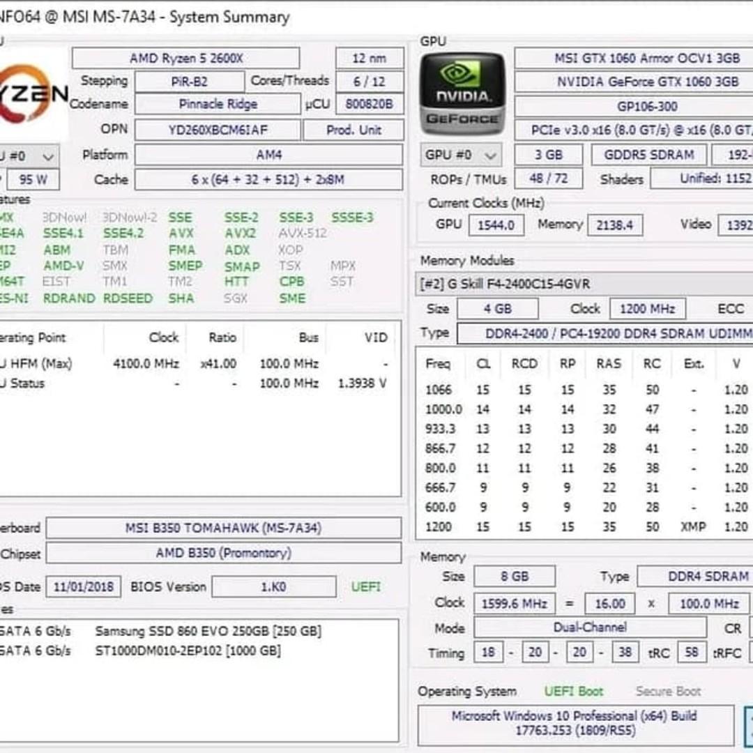Paket CPU Gaming AMD Ryzen 5 2600x GTX 1060 3GB